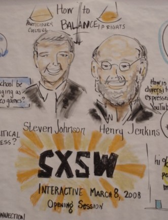An artist's impression of the Opening Remarks session at SXSWi